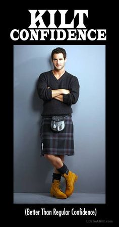 Was recently in Scotland and saw many men dressed similar to this everyday. How sexy they are with the work boots, socks, and kilt. Never knew I loved kilts until this trip! May have to move to Scotland. Scottish Man, Scottish Culture, Scottish Kilts, Kilt Accessories, Men In Kilts, Komplette Outfits, Poses, Aaron Taylor Johnson, Tartan Plaid