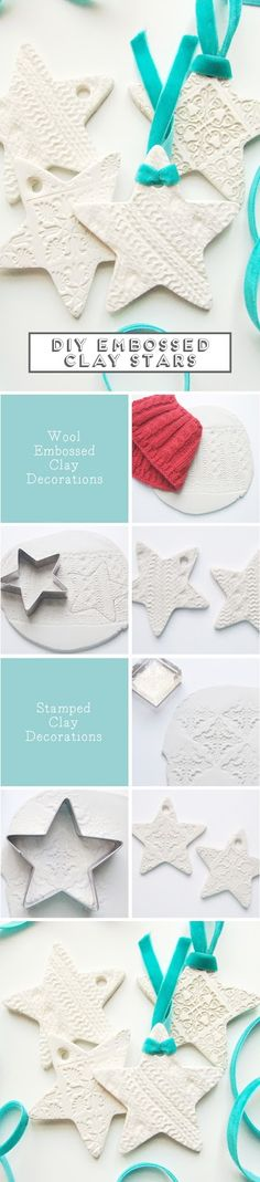 Diy Embossed Clay Star Decorations // Click through for full tutorials Easy Christmas Decorations, Star Decorations, Diy Christmas Ornaments, Christmas Projects, Holiday Crafts, Noel Christmas, Homemade Christmas, Simple Christmas, Winter Christmas