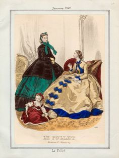 In the Swan's Shadow: Le Follet, January 1865.  Civil War Era Fashion Plate
