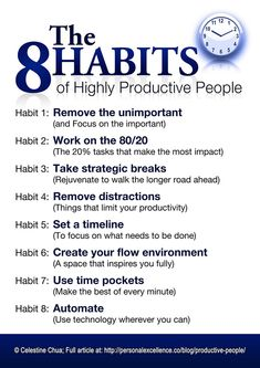 What does it take to be a more productive person? :) Check out these 8 habits of highly productive people: Read the full article: The 8 Habits of Highly Productive People Please like/share this on Facebook, Twitter, Pinterest, etc. if you find it useful. More manifestos can be found in the manifestos