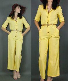 19dd9549e72 80 s 1980 s Glam Yellow Pantsuit Jumpsuit by moddychicvintage Avant Garde