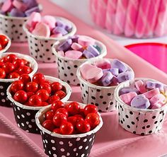 Kid-Sized Candy Cups: Spice up your child's Valentines Day party with fun candy containers. Fill polka dot party cups with Valentine favorites like mini gumballs and conversation hearts.