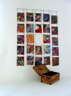 "sztuka książki - bookart ""Teach Yourself"" Book (oil on fibreboard: 120 x 167 cm; wooden trunk: 44 x 26 x 29 cm; one-off)"