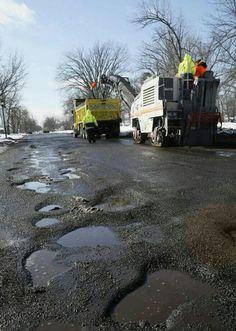 Buffalo pot holes and annual repair trucks