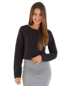Alex Rib textured long sleeve crop – Black | redthread7.com.au Go casual Or dress it up …..Every girls Essential!
