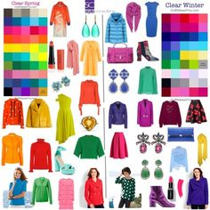 "Differences between clear spring and clear winter."" By Margriet Roorda-Faber, Style Consulting. Bright Spring, Bright Winter Outfits, Clear Spring, Clear Winter, Winter Colors, Colourful Outfits, Spring Colors, Fashion Colours, Colorful Fashion"