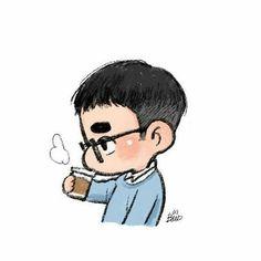 _ The news that I read today it's really make me lose my sanity :') . Exo Cartoon, Cute Cartoon Characters, Kyungsoo, Kaisoo, Chanyeol, D O Exo, Exo Stickers, Exo Anime, Korean Anime