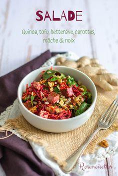Rosenoisettes: Salade de quinoa, mâche, betterave, carottes et tofu aux noix My Recipes, Recipies, Delicious Vegan Recipes, Gluten Free, Vegetarian, Beef, Healthy, Food, Salads