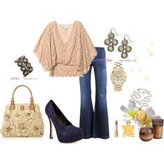 Beige and Blue, created by fashionistaluxuries on Polyvore