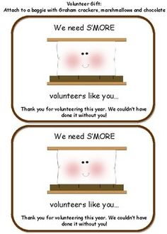 11 quick and easy volunteer appreciation gifts appreciation gift volunteer gift we need smore volunteers like you negle Choice Image