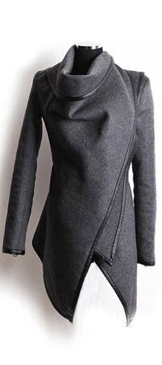 Turn down collar grey winter jacket