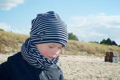 Beanie, Mütze für Frühling und Sommer gestreift aus Bio-Jersey für Kinder von internaht - einfach schöne Kindermode, hergestellt in Dresden- - - - -