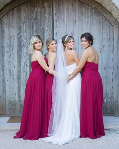 Jewel tones for your bridal party is pretty any time of year! Find the perfect bridesmaid dresses at David's Bridal (in practically any color!!) Book your bridal party appointment!   Photo via Instagram/skm_katy