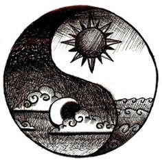 This is the most beautiful ying-yang tattoo idea I have ever seen . I Love this because I want a sun and moon tattoo, and a yin yang tattoo! I recommend this tattoo Yin Yang Tattoos, Tatuajes Yin Yang, Cool Drawings, Drawing Sketches, Hipster Drawings, Tattoo Sketches, Tumblr Drawings Easy, Trippy Drawings, Drawing Designs