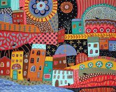Karla Gerard, Art Deco Posters, Guache, Arte Popular, Naive Art, Whimsical Art, Art Lessons, Bunt, New Art