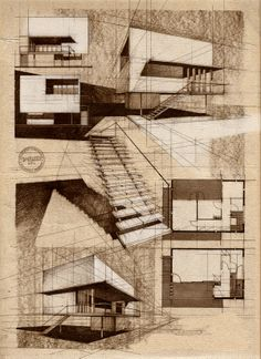 Architecture drawings by Alina Surduleasa, via Behance