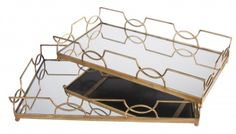 cobistyle pretty gold and mirrored trays