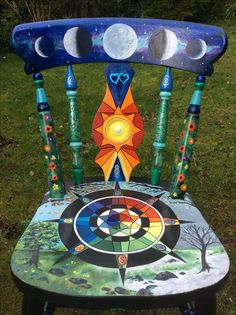"The ""Spirit of Life"" Pagan Chair. This unique Chair represents the cycle of life, seasons, moon phases, sun, life, and symbols of love, friendship, spirituality, rebirth, the four elements, health and healing."