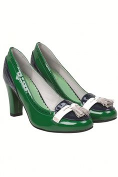 Edith & Ella - Classy Green Navy Brogue heels patent leather