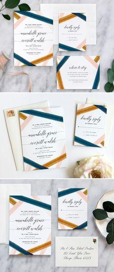 Modern wedding invitation by Fine Day Press #modernweddinginvitation #weddinginspiration #weddinginvitations #watercolorweddinginvitations #wedding