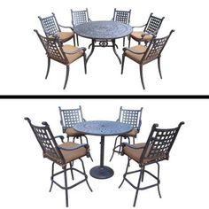 Oakland Living Plymouth Premier Set with 5 Pc Bar Set, 9 Pc Dining Set and Sunbrella Cushions Outdoor Dining Set, Patio Dining, Dining Chairs, Patio Bar, Dining Room, Outdoor Decor, Dining Table, Dining Chair Cushions