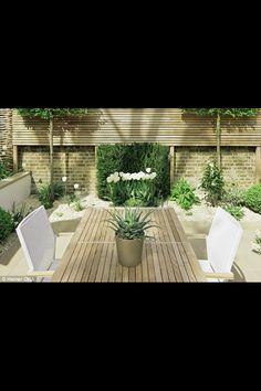 Elegant garden, white, green, modern, clean lines