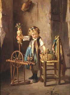 Joseph-Athanase Aufray - By the Spinning Wheel