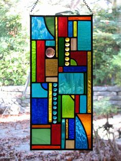 Stained Glass Abstract Geo Mini Panel. $95.00, via Etsy.
