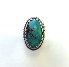 Turquiose ring, silver ring, boho ring, southwestern ring by MandanaStudios on Etsy