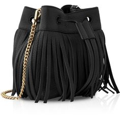 Whistles Micro Sidney Fringe Bucket Bag ($95) ❤ liked on Polyvore featuring bags, handbags, shoulder bags, purses, accessories, bolsos, black, purse shoulder bag, hand bags and mini hand bags