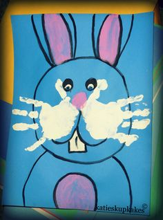 Fun Easter Craft DIY- Kids handprints are the Easter Bunny whiskers. Great gift for grandparents :)  #KatiesKupkakes