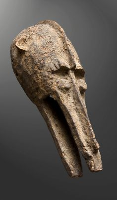 Africa | 'Kono' mask from the Bamana people of Mali | Wood; aged encrusted patina