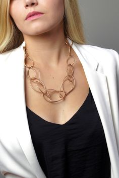 Eleanor necklace // bronze chunky chain necklace paired with black top and white blazer