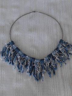 Denim blue jean rag quilt bead necklace by CCsTwistingThread