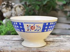 Rare Antique French bowl LUNEVILLE / checkered blue and