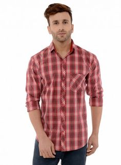 Buy Checked Brush Twill Casual Shirt Online at Low prices in India on Winsant  #shirts #casualshirt #mensfashion #fashionblogger #fashion #style #winsant #pinterestmarketing #pinterest Casual Shirts For Men, Men Casual, Online Shopping Websites, Trouser Jeans, Men Online, Red Shirt, Daily Wear, Workout Shirts, Short Sleeves