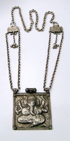 vintage antique ethnic tribal old silver necklace Ganesha pendant, India