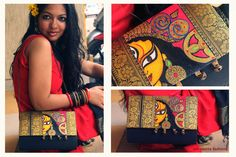 Madhubani Art, Madhubani Painting, Painted Bags, Hand Painted Canvas, Traditional Paintings, Traditional Art, Different Types Of Painting, Indian Folk Art, Indian Art Paintings