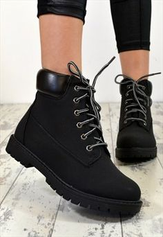 Flat lace up ankle boots combat-style of INDIE BLACK - Flat lace up ankle boots combat-style of INDIE in BLACK, boots boot outfit boots outfit - Pretty Shoes, Cute Shoes, Lace Up Ankle Boots, Shoe Boots, Shoes Boots Combat, Black Combat Boots, Ankle Bootie, Shoes Heels, Timberland Stiefel Outfit