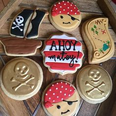 Pirate cookies set #Pirate #goldcoin #treasure #pirates #pirateship #treasuremap #ahoy #ahoymatey #Piratecookies Pirate Birthday, Pirate Party, 4th Birthday, Pirate Cookies, Mermaid Cookies, Pirate Treasure Chest, Princess Cookies, Biscotti, Birthday Cookies