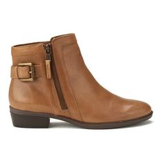 Lauren Ralph Lauren Women's Shelli Leather Ankle Boots ($245) ❤ liked on Polyvore featuring shoes, boots, ankle booties, tan, low heel booties, leather boots, flat booties, short boots and tan ankle boots