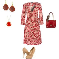"""Dress for Work"" on Polyvore  I love wrap dresses and red is my favorite color!"