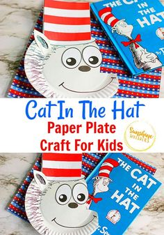 Cat In The Hat Paper Plate Craft For Kids. A great craft to do when reading Dr. Seuss with your kids! Paper Plate Crafts For Kids, Toilet Paper Roll Crafts, Crafts For Kids To Make, Kids Crafts, Paper Plate Hats, Paper Plates, Printable Crafts, Free Printable, Printable Paper