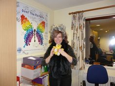 Karen Sugarman, Director of Specialist Fundraising at Shooting Star CHASE Children's Hospice, supports the Paul Strank Roofing Photothon with Pudsey! #pudseyphotothon #pudsey #cin