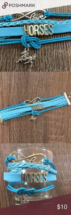Love horses wrap bracelet, blue Love horses wrap bracelet, blue. Adjustable clasp. Jewelry Bracelets