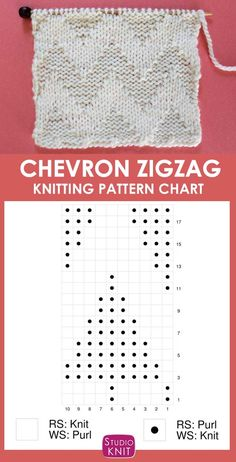 So helpful Knitting Chart of the Horizontal Chevron Zigzag Knitting Pattern that creates a wide texture using knits and purls in an Repeat StudioKnit knittingchart knitstitchpattern chevron zigzag Knitting Stiches, Knitting Charts, Loom Knitting, Knitting Patterns Free, Knit Patterns, Crochet Stitches, Baby Knitting, Stitch Patterns, Crochet Afghans
