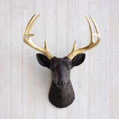 The Virginia | Large Deer Head | Faux Taxidermy | Black + Gold Antlers Resin