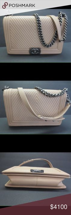 """One Day Sale Chanel Boy Light Beige Caviar Chevron Like new. Authentic Quilted Chevron Boy Bag. Light Beige. Gunmetal chain.Never used. Excellent condition. Authenticity card photo posted. Purchase price $4900 11"""" L CHANEL Bags Crossbody Bags"""