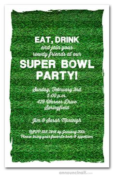 Lush green turf of the football field is groomed and ready for play. Perfect for Super Bowl party invitations, football tailgating invitations and more. Birthday Party Invitations, Birthday Party Themes, Football Field, Lush Green, Tailgating, Super Bowl, Party Ideas, Collection, Football Pitch