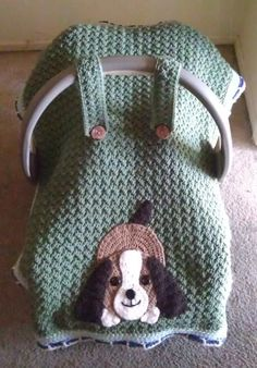 Crocheting Playful Puppy Car Seat Canopy. & car seat cover...the possibilities are endless. Would also be cute ...